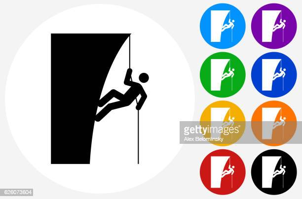 mountain climbing icon on flat color circle buttons - rock climbing stock illustrations, clip art, cartoons, & icons
