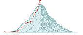 Mountain climbing route. Business vector illustration