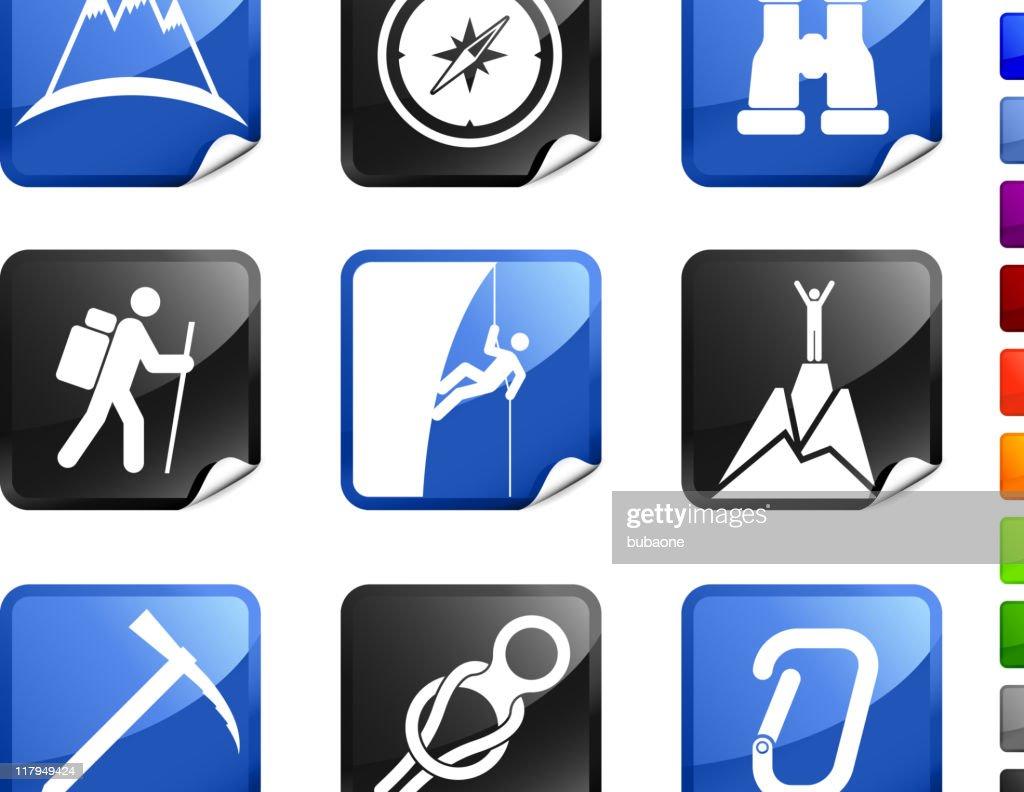 mountain climbing royalty free vector icon set stickers vector art