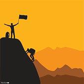 Mountain climbing, vector illustration