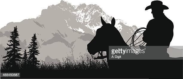 mountain cowboy - horseback riding stock illustrations, clip art, cartoons, & icons