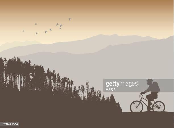mountain cycle path - treelined stock illustrations, clip art, cartoons, & icons