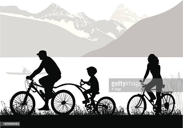 Mountain Cycling Vector Silhouette