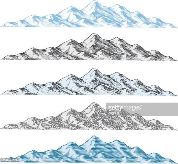 ilustrações, clipart, desenhos animados e ícones de desenhos de montanha - panorâmica
