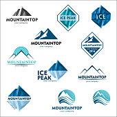 Mountain emblem, vector design concept for ski sports, tourism, active leisure. Icon set
