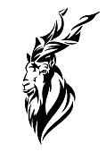 Mountain goat markhor head vector design