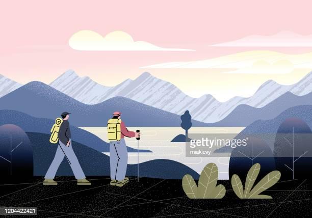 mountain hiking - wilderness stock illustrations