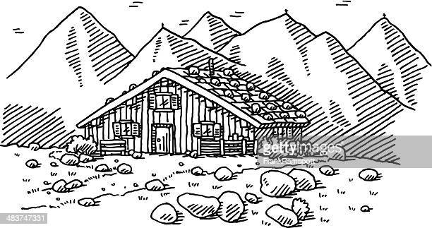 Illustrations et dessins anim s de chalet de montagne - Dessin de chalet de montagne ...