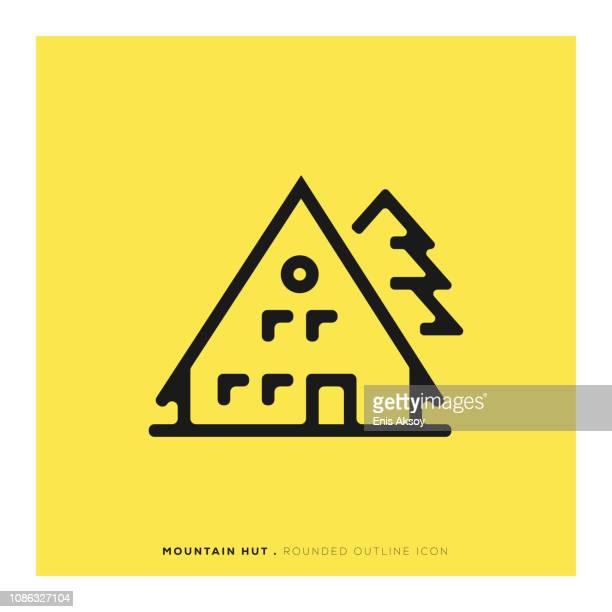 illustrations, cliparts, dessins animés et icônes de icône de montagne refuge arrondie - chalet de montagne
