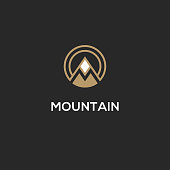 Mountain icon with letter M in a shape of circle.