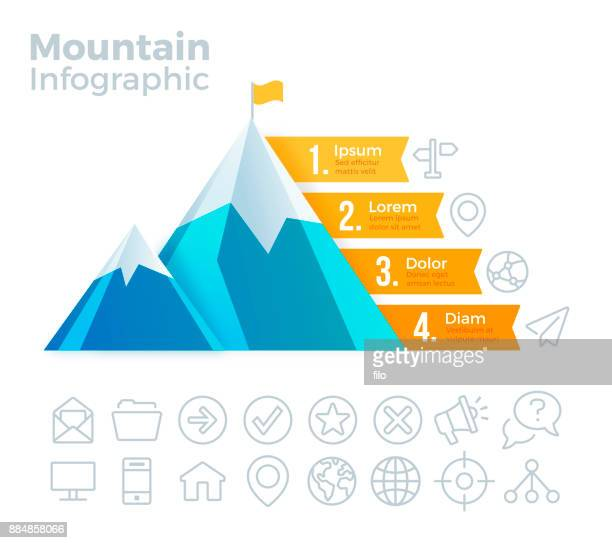 mountain infographic - mountain peak stock illustrations, clip art, cartoons, & icons