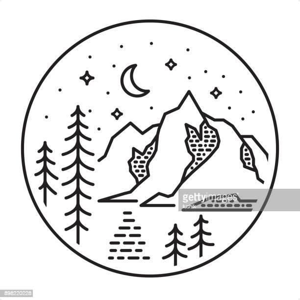 mountain lake and crescent moon icon - wonderlust stock illustrations