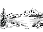 Mountain lake graphic art black white landscape illustration vector