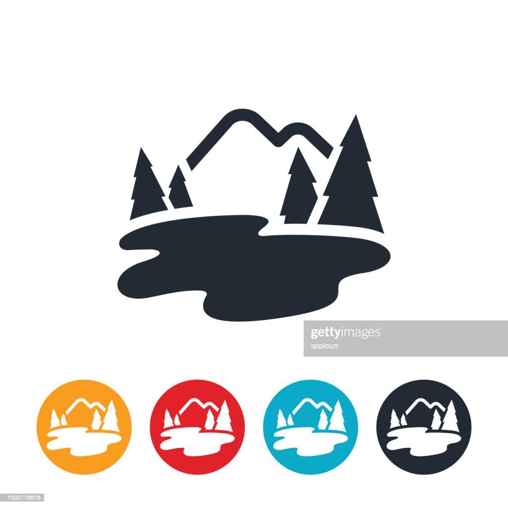 Mountain Lake Icon Vector Art   Getty Images  Lake Icon