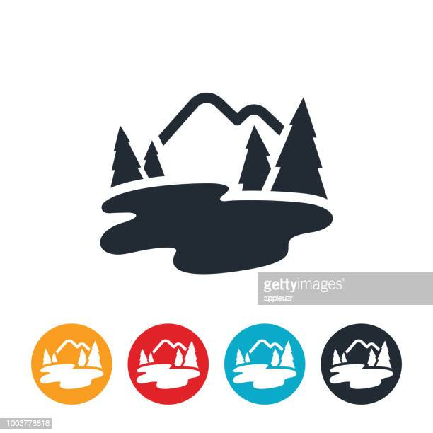 mountain lake icon - lake stock illustrations