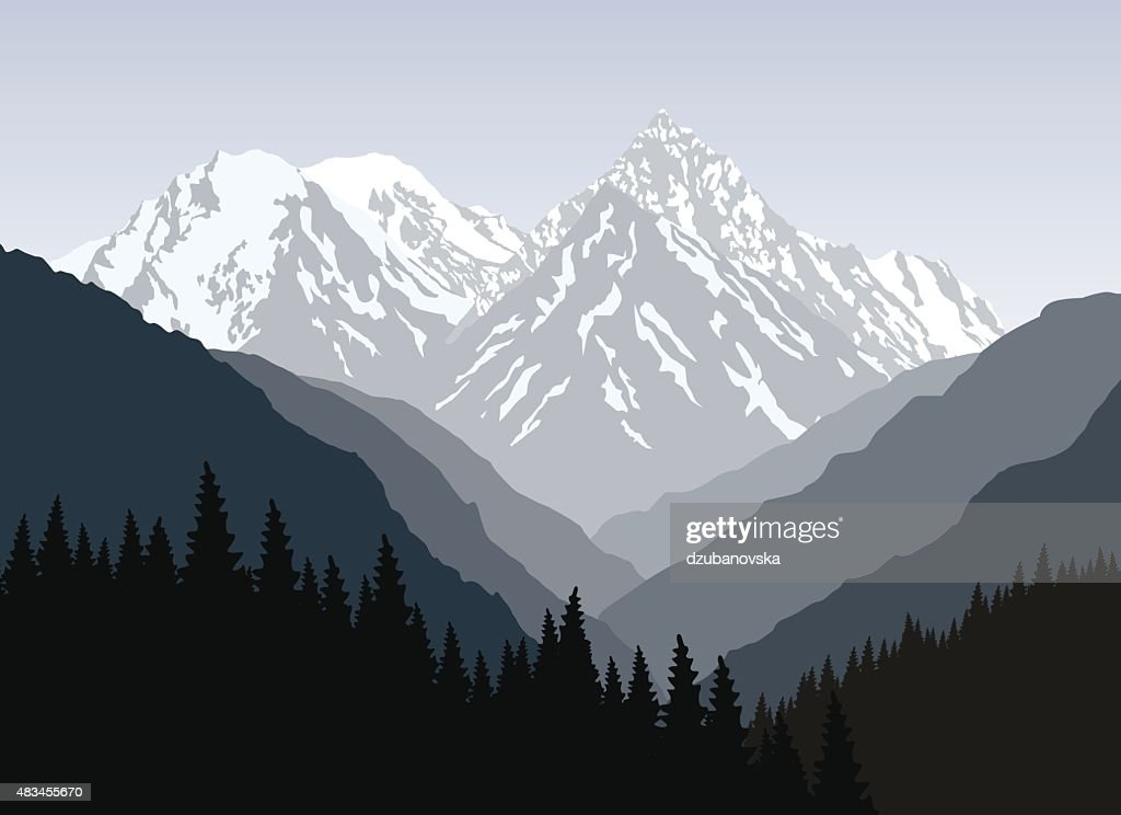 Mountain landscape at morning. Snow-covered mountain.