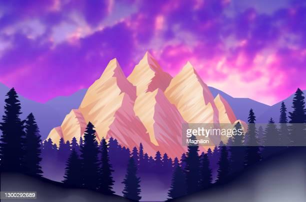 ilustrações de stock, clip art, desenhos animados e ícones de mountain landscape at sunset with clouds - coberto de neve