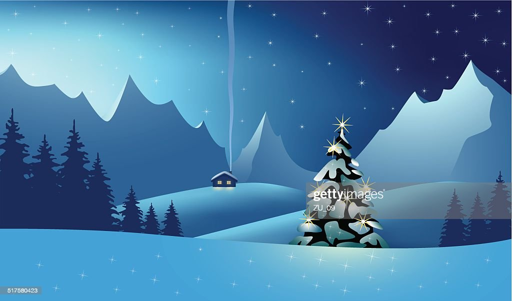 Mountain Landscape at the christmas time : stock illustration