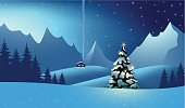 Mountain Landscape at the christmas time