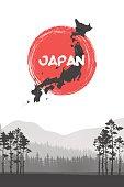 Mountain landscape. Illustration of Japan Flag Vector Background