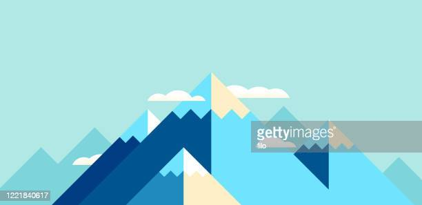 mountain landscape modern background - teal stock illustrations