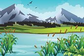 Mountain landscape. Natural background with lake, meadow, mountain peaks. Vector illustration the summer, wild nature