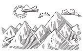 Mountain Landscape Sunny Weather Drawing