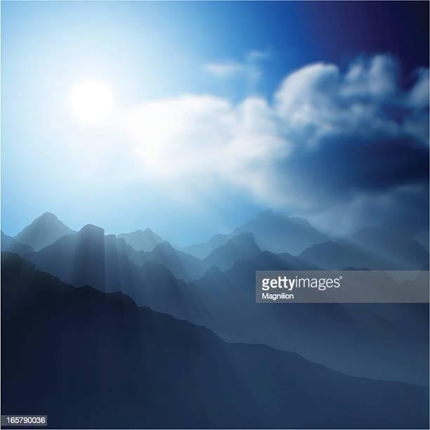 mountain landscape - dramatic sky stock illustrations