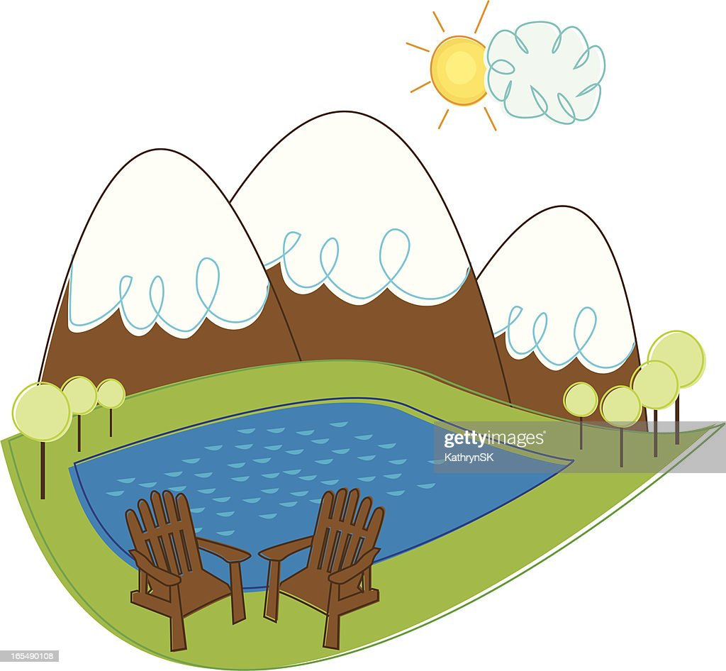 Mountain Landscape With Adirondack Chairs High Res Vector