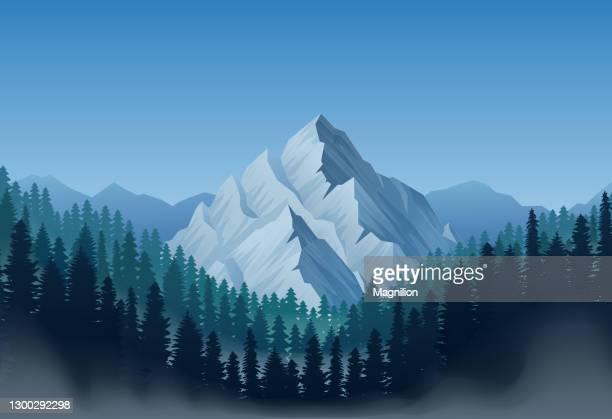 ilustrações de stock, clip art, desenhos animados e ícones de mountain landscape with forest - coberto de neve