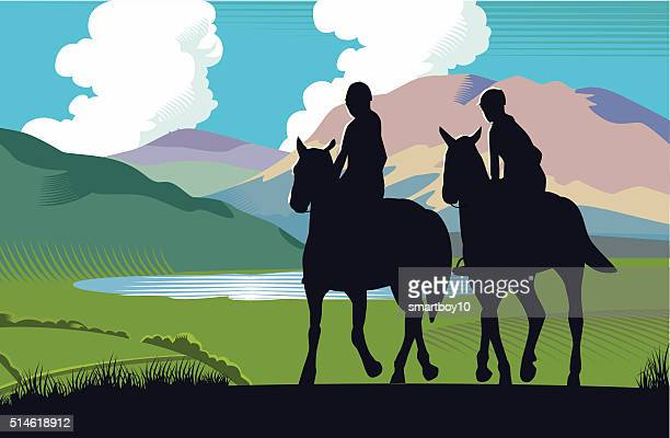 mountain landscape with horse riders - pony stock illustrations, clip art, cartoons, & icons
