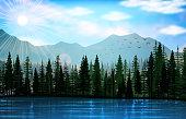 Mountain landscape with lake background