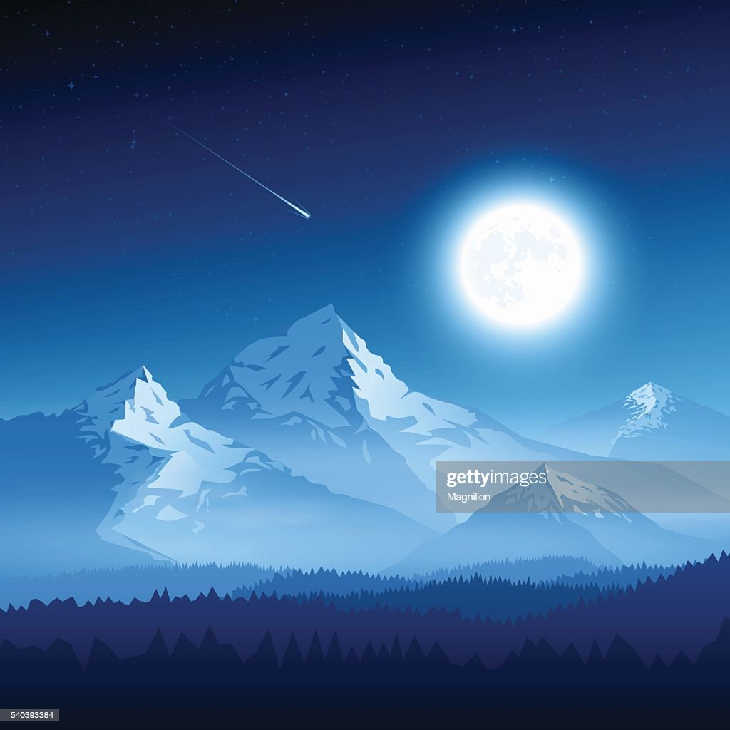 Mountain landscape with moon : stock illustration