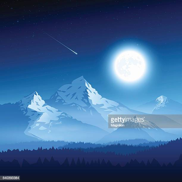 Mountain landscape with moon