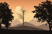 Mountain landscape with trees and one lone dead trees, the orange sky with the sun - Vector