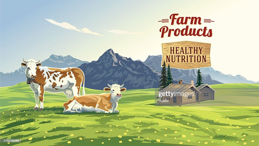 Mountain landscape with two cows.