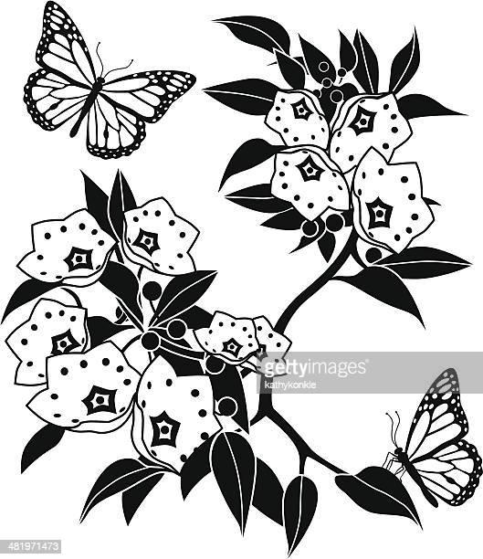 ilustrações, clipart, desenhos animados e ícones de monarca do-louro-da-montanha e borboletas - mel do louro da montanha