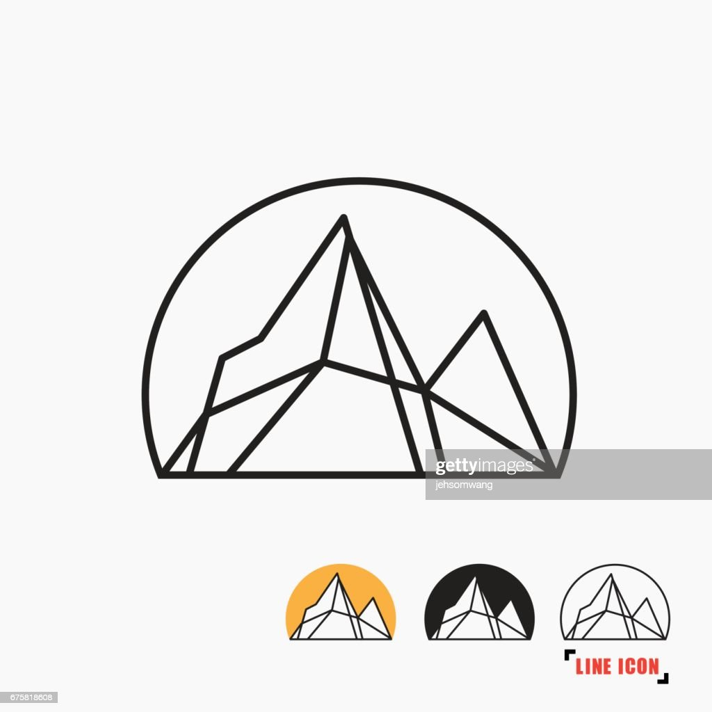 Mountain line icon