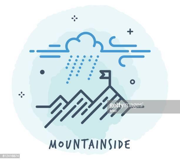 mountain line icon - mountain stock illustrations, clip art, cartoons, & icons