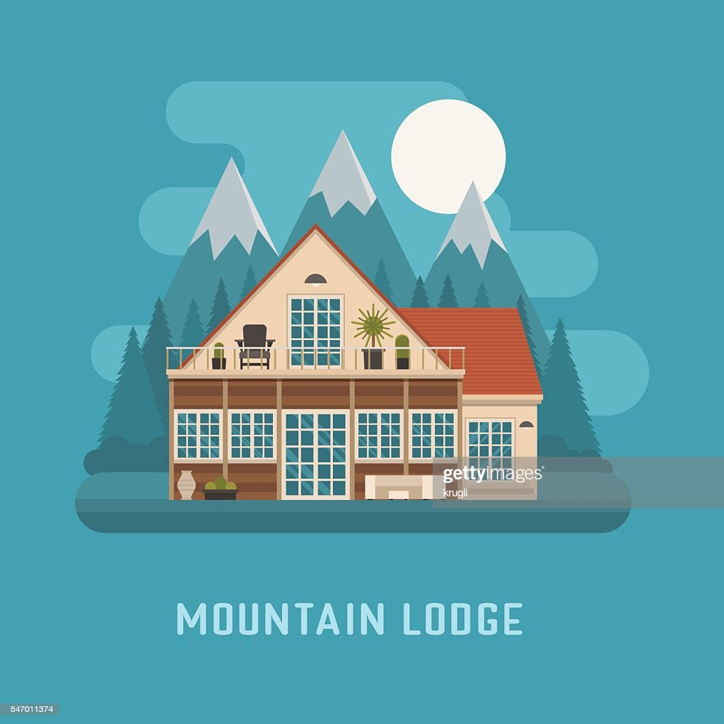 Mountain Lodge House Landscape.