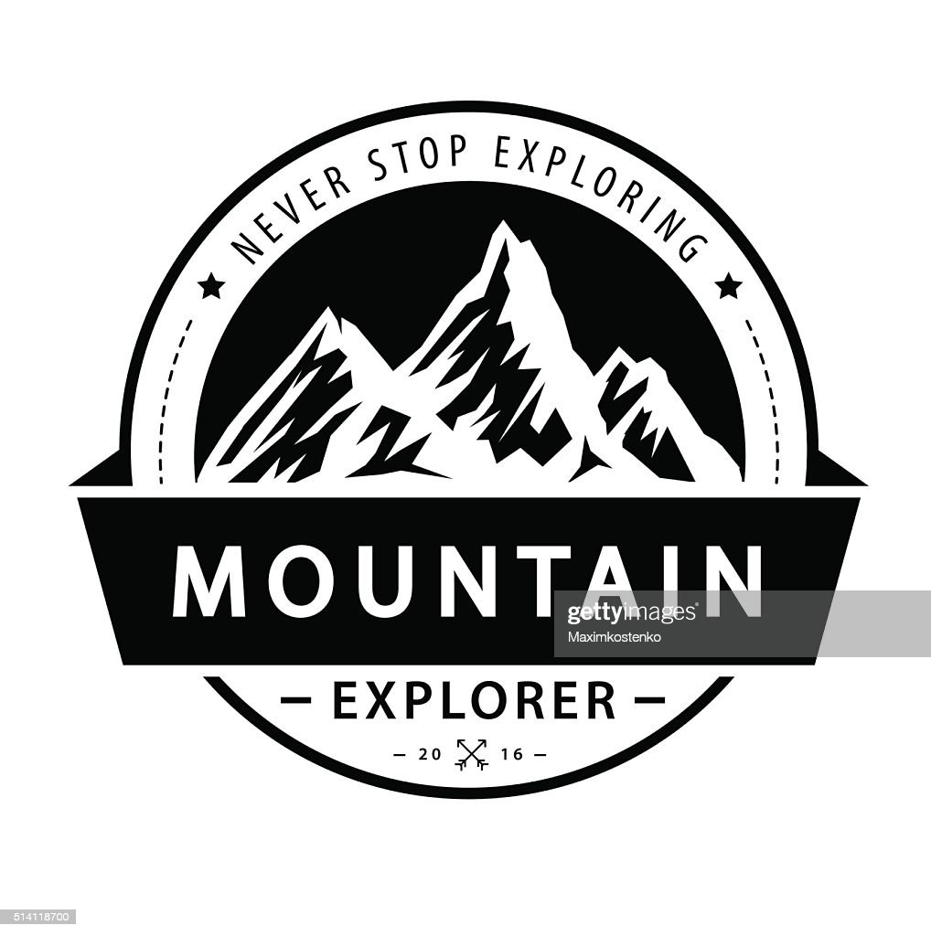 Mountain logo emblem. Adventure retro vector illustration.