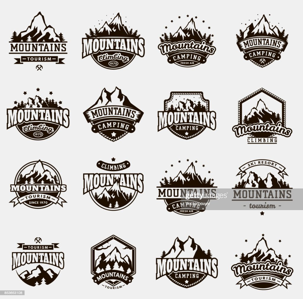 Mountain nature travel outdoor vector badge icons set
