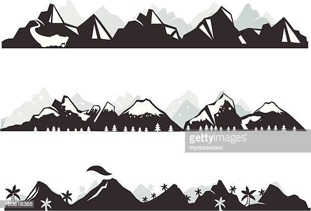 mountain panorama - volcano stock illustrations, clip art, cartoons, & icons