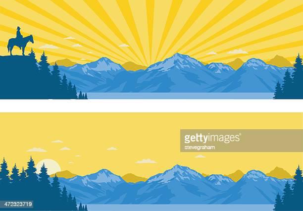 mountain panoramas - light beam stock illustrations, clip art, cartoons, & icons