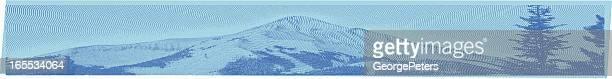 パノラマに広がる山のピークの彫りこみ文字 - 内陸部の岩柱点のイラスト素材/クリップアート素材/マンガ素材/アイコン素材