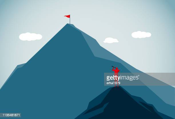 mountain peak - achievement stock illustrations, clip art, cartoons, & icons
