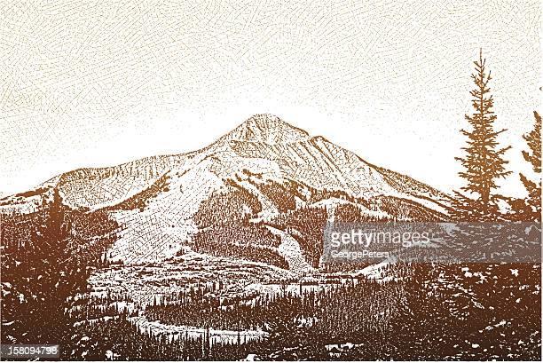 mountain peak - ski slope stock illustrations, clip art, cartoons, & icons