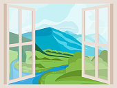 Mountain Peaks and River. Open Window with a Landscape View