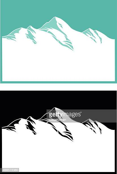 Mountain Range in Blue and Black