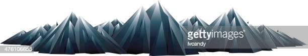 mountain range isolated on white - volcanic terrain stock illustrations